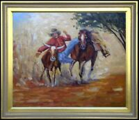 Framed Quality Hand Painted Oil Painting Cowboy at Work 20x24in