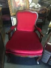 LOUIS STYLE FRENCH CARVED MAHOGANY ARMCHAIR ..RED VELVET UPHOLSTERY