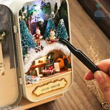 DIY Handcraft Miniature Project Kit Dolls House The Snow Dream Tin Box