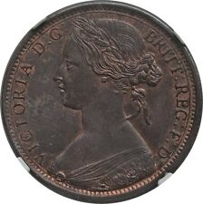GREAT BRITAIN VICTORIA  1863  1 PENNY COIN, UNCIRCULATED, CERTIFIED NGC MS65-BN