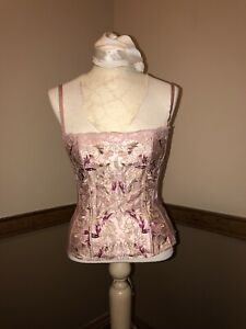 Frederick's of Hollywood Women's Beaded Pink Strapless Corset Bustier 36