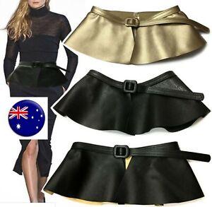 NEW Women Retro Syn Leather Wide Waist Skirt look Peplum Corset Belt Band Wrap