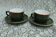 2 X APILCO green & gold bistro small cups and saucers  made in France