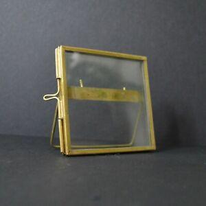 Small square brass photo frame 8cm vintage bohemian antique style mini (empty)