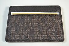 NWT MICHAEL KORS JET SET TRAVEL BROWN MINI SKINNY CARD CASE HOLDER WALLET