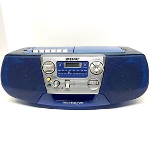 Sony Boombox CFD-V177 Mega bass port blue  CD Cassette Radio Works Great!