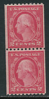 SCOTT 488 1916 2 CENT WASHINGTON REGULAR ISSUE COIL PAIR MNH OG VF CAT $17!