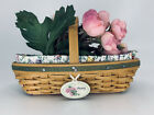 Longaberger 2005 Collector's Club Miniature Peony Basket w/Silk flowers + Tie On