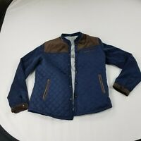 Unbranded Womens Quilted Jacket Lightweight Corduroy Navy Blue Brown 2XL