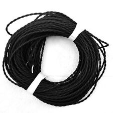 Black Twisted 2-wire Rayon Covered Cord 18ga, Vintage style lamp cord, per foot
