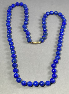 "14k Yellow Gold Clasp Lapiz Lazuli Gemstone 5mm Beaded Necklace 26"" 54.0g"