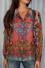 JOHNNY WAS Friar Silk Print  Blouse Size Small