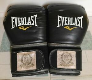 Everlast Boxing Gloves 100 Years Est 1910 NYC Fighting Black/Gray #13631