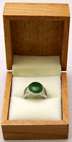Beautiful Sz5 Ring w/ Oval Green Jade Stone Split Band Style 925 Sterling Silver