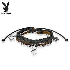 "Playboy Bunny Charm Black, Brown Leather & Brass Adjustable Bracelet, 7.75"""