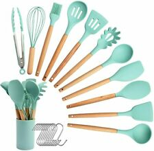 11pcs Silicone Kitchenware Utensil Set Cooking Tools Wooden Handle Non-Stick