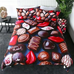 3D Sweet Chocolate Food Gift King Queen Twin Quilt Duvet Pillow Cover Bed Set
