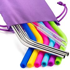 6 Silicone Straws ,3 Brushes ,2 Metal Straws & Storage Pouch for 30oz Tumbler