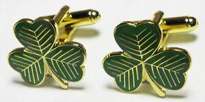 Shamrock Cuff Links Cufflinks Symbol of Ireland Eire Gaelic Irish