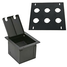 Elite Core Recessed Audio Stage Floor Box with 6 D Holes Punched Plate