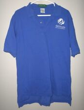 "GIRL SCOUTS med polo shirt blue GSA embroidery ""Where Girls Grow Strong"" logo"