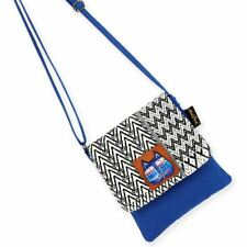 Laurel Burch Indigo Cats Blue Flap Over Woven Purse Crossbody Tote Handbag