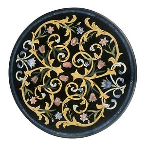 """24"""" Black Marble Round Coffee Table Precious Marquetry Inlay Art Home Décor B047"""