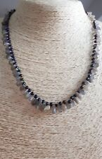 Ladies Necklace Labradorite Chips & Peacock seedbeads Black Plated FQli Handmade