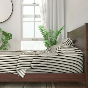 Taupe Stripe Black Beige Tan Chic 100% Cotton Sateen Sheet Set by Roostery