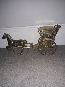 Vintage Brass Horse And Carriage. Needs Some Attention, See Photos, As Seen.