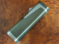NEW GUNMETAL & CHROME TRIPLE FLAME TORCH WIND PROOF CIGAR LIGHTER W/ PUNCH
