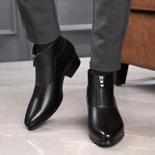 Men's Leather Ankle Boots Pointed Toe Cuban Mid Heel Dress Formal Shoes Zipper