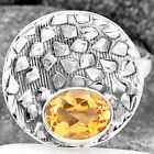 Natural Citrine 925 Sterling Silver Ring s.9 Jewelry E801