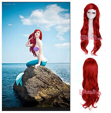 USA Ship Women 70cm Dark Red Little Mermaid Ariel Curly Long Cosplay Wig zy91