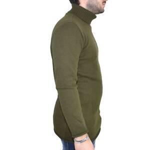 Maglione collo alto art..4432 verde made in italy moda tendenza slim