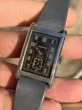 Vintage Oversized Marvin Rectangular Mens Watch Gilt Dial 25,5x41,1mm Swiss Made