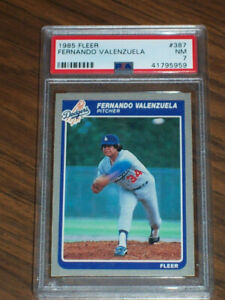 1985 Fernando Valenzuela #387 Fleer PSA 7 Los Angeles Dodgers