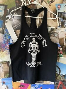Vintage Golds Gym Tank Top Mens M Black Sleeveless Bodybuilding Made in USA