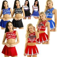 Sexy Women's Cheerleader Costume Cosplay Fancy Dress Crop Top Mini Skirt Outfits