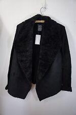CHELSEA & THEODORE Faux Suede Fur Drapey Cardigan Jacket Sweater NWT Shawl Black