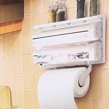 Triple Paper Dispenser for Cling Film Wrap + Aluminium Foil, Kitchen Roll Holder