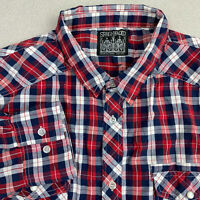 Straight Faded Button Up Shirt Mens 2XL Blue Red Long Sleeve Check Chest Pockets