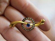ANTIQUE VICTORIAN 10K YELLOW GOLD SEED PEARL BLUE STONE STICK PIN BROOCH