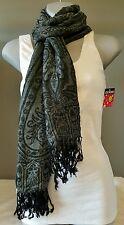 Scarf Women's Fashion Accessory Black Gray Trendy Hip Jaclyn Smith Gift Idea
