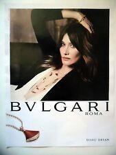 PUBLICITE-ADVERTISING :  BULGARI Diva's Dream  2016 Carla Bruni,Bijoux