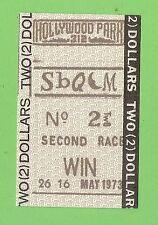 #D217.   MAY  1973 HOLLYWOOD  PARK HORSE RACING $2 TICKET