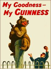 Guinness Beer Bear Ireland Great Britain Vintage Travel Art Poster Print
