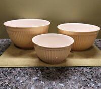 Vintage SUR LA TABLE Pastel Yellow Ceramic Fluted Beehive Nesting Bowls PRISTINE