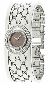 GUCCI 112 Twirl Diamond Steel Bangle Bracelet Women's Watch YA112504