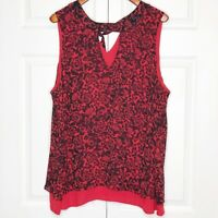 Torrid Size 3 Red and Black Sleeveless Shirt W/ Roses EUC